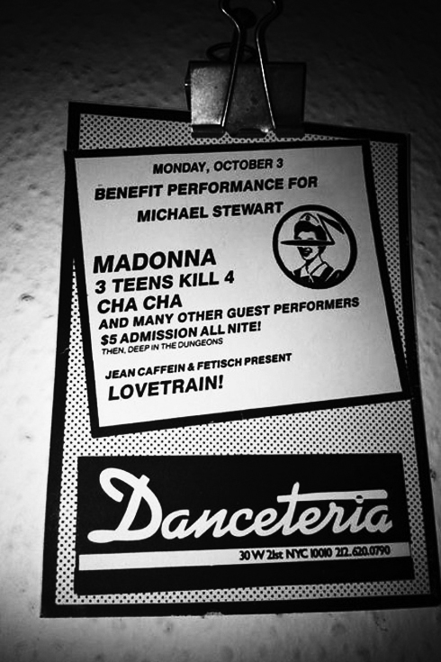 Danceteria ken schles flyer benefit for Michael Stewart