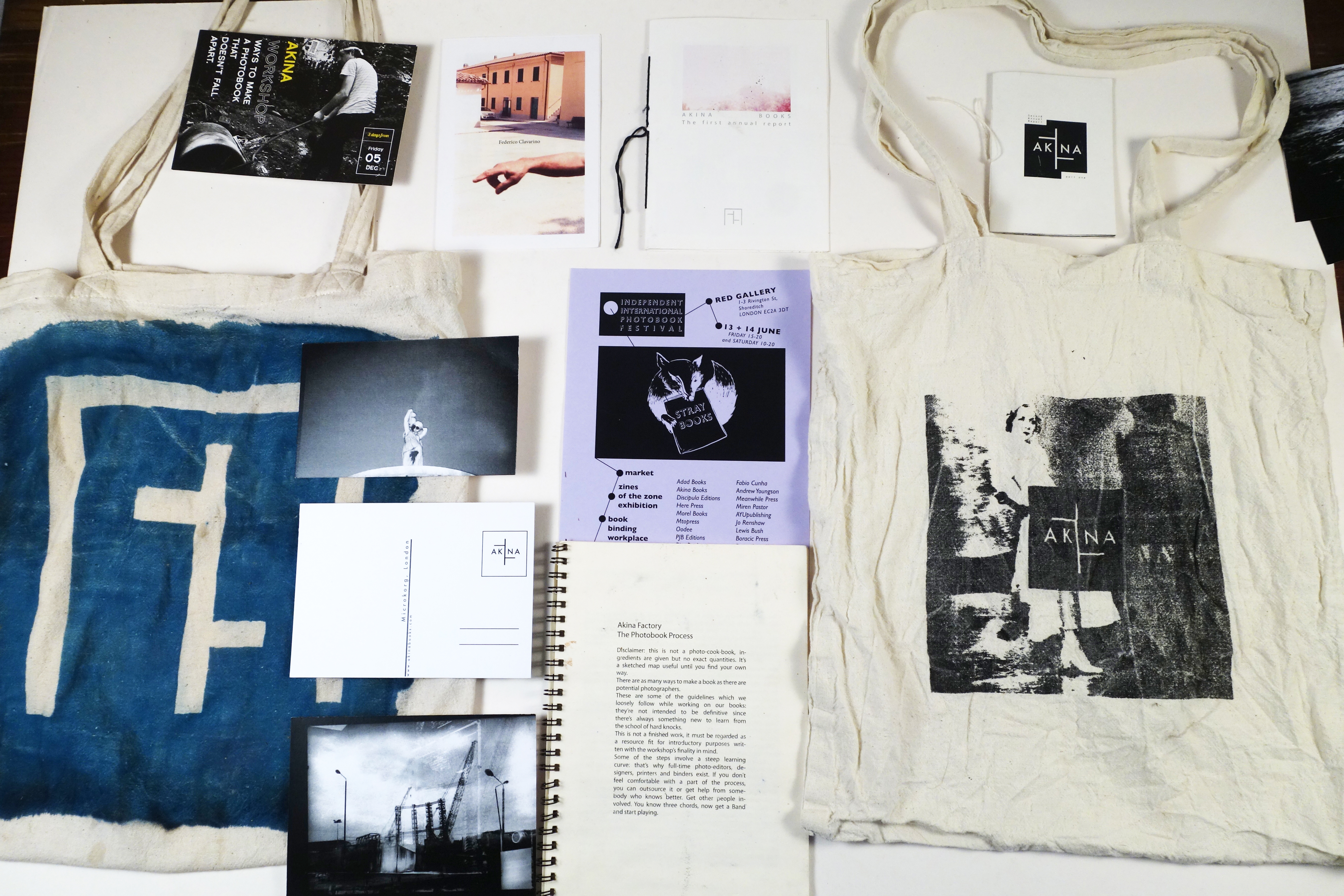 Merchandising. Cyanotype tote bag, Straybooks invite, Final Annual report 1 and 2, Postcards, Akina Factory booklet